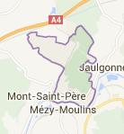 carte situant l'entreprise de location de vaisselle dans le canton de condés en brie avec le positionnement des villes de Jaulgonne, Mont saint Père et Mézy Moulins
